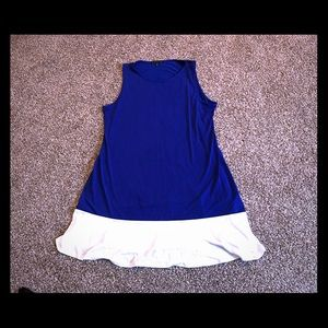 Blue and white color block sleeveless dress
